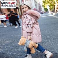 儿童棉服中长款女孩2018新款韩版洋气厚款外套潮