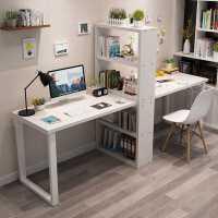 【限时抢购,全店七折】简约双人电脑桌家用台式飘窗书桌带书架组合书柜梳妆台一体办公桌
