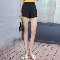 白色高腰短裤女夏季2018新款宽松显瘦a字阔腿薄款西装面料休闲裤