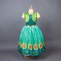 冰雪奇缘安娜公主裙艾莎连衣裙爱莎礼服女童迪士尼儿童蓬蓬万圣节 绿色