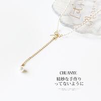 蝴蝶结项链珍珠项圈锁骨链女饰品链