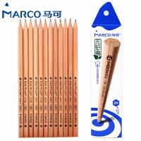 MARCO/马可 6001-12CB 原木书写铅笔12支装/2H 无铅毒六角木杆小学生用作业考试练字笔套装速写笔儿童绘