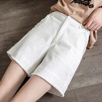 白色牛仔短裤女chic2018夏新款高腰阔腿五分裤宽松a字裤潮