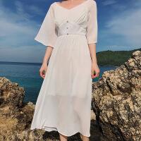 巴厘岛马尔代夫长裙复古V领高腰喇叭飞袖海边度假沙滩裙连衣裙夏