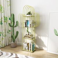 北欧铁艺置物架客厅卧室落地架子创意转角儿童书架小书柜仙人掌架