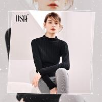 【2.5折到手价:90.3】OSA欧莎2019秋装新款半高领修身长袖黑色打底毛衣针织衫女