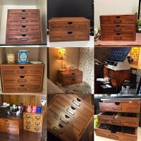 木质杂物整理盒首饰办公桌面收纳柜木盒家用抽屉式化妆品收纳盒