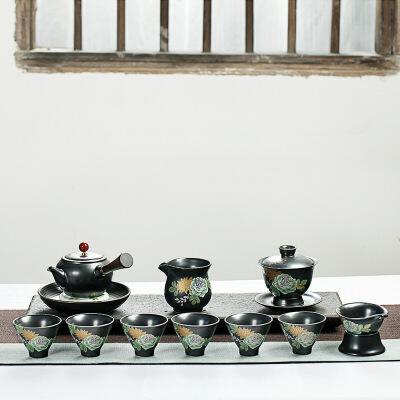 功夫茶具套装陶瓷紫砂整套简约茶具套装茶壶茶杯茶海家用