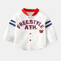 男童长袖衬衫春季小童韩版上衣儿童打底衫男宝宝衬衣新款春装 白色 90-130预售3.5发