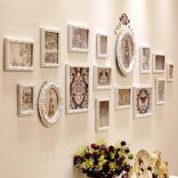 照片墙实木相框墙长方形相框组合不规则欧式背景相片墙