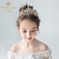 儿童皇冠头饰公主水晶大发箍金色韩式女孩生日礼服发饰