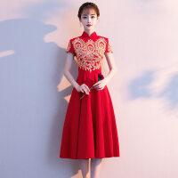 中式敬酒服新娘旗袍2018新款夏季中长款红色结婚礼服回门服显瘦女 X
