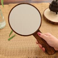 随身镜子 实木便携梳手柄化妆镜手持手拿镜子美容 复古木质随身镜
