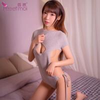 情趣内衣日系裸背露胸绑带连体可爱毛衣激情套装女骚性感衣服