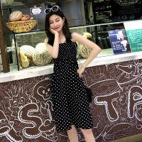 2019夏季中长款吊带裙子波点无袖连衣裙仙女生显瘦背带打底裙弹力