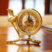 欧式钟表摆件客厅座钟台式桌面床头柜时钟美式纯铜家居酒柜装饰品 金黄色