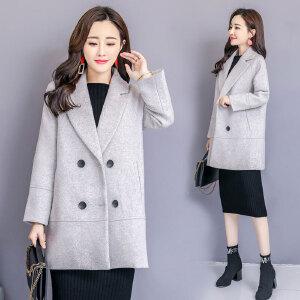 呢子大衣女中长款韩版2018新款毛呢外套女学生秋冬季