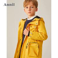 【2件4折 �A估券后�r:193】安奈�和��b男童棉衣中�L款2020冬新款加厚保暖男孩工�b�L外套�B帽