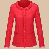 秋冬轻薄棉衣保暖内胆修身显瘦蕾丝短款加厚大码外套女士 2XL 125-135斤