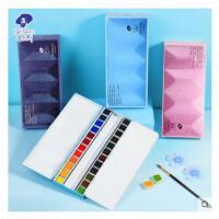鲁本斯粼光固体水彩颜料套装24色便携式重搪瓷铁盒透明珠光块状水彩画颜料美术插画手绘画画固体水彩颜料