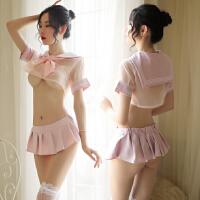 情趣内衣女骚激情套装性感透明水手制服诱惑超骚挑逗学生床上露乳