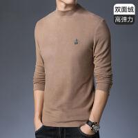 双面绒圆领长袖T恤打底衫秋男士秋冬新款修身加厚保暖秋衣