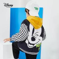 【2件3折价:104.7元】迪士尼童装男童秋装外套2021春秋新款儿童帅气针织棒球服上衣潮
