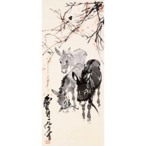 中国画艺术大师,收藏家。  黄胄款《三驴图》