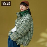 【尾品直降】森宿绿色短款格子羽绒服女冬装2018新韩版时尚小款立领白鸭绒外套