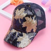 新遮阳帽韩版年遮阳帽亮片枫叶棒球帽女士帽子春夏新款鸭舌帽 可调节