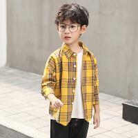 男童衬衫长袖秋装2018新款儿童韩版格子衬衣12中大童15岁上衣潮