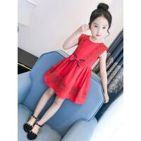 女童背心裙夏装2019新款童装女大童连衣裙纯棉洋气裙子儿童公主裙 红色