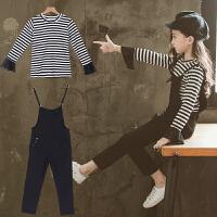 女童背带裤套装韩版中大童秋装2018新款时髦条纹两件套时尚洋气潮