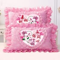 十字绣枕套双人 新款十字绣枕头一对送新人大红色蕾丝单人卧室双人长枕套印花套件