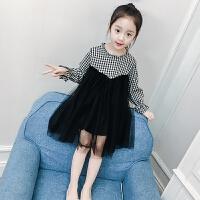儿童连衣裙春秋2018新款韩版女孩格子纱裙公主裙
