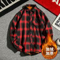 冬季新款加绒加厚衬衫男士韩版青年长袖衬衣潮流保暖格子寸衫