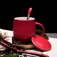 创意复古男茶杯马克杯简约ins北欧陶瓷杯子带盖勺家用水杯咖啡杯