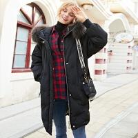 羽绒服女中长款2019冬装韩版时尚宽松连帽大毛领加厚外套