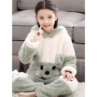 儿童睡衣女童珊瑚绒家居服秋冬季厚款法兰绒大童公主女孩宝宝套装