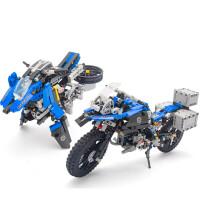 越野摩托车拼装积木车兼容宝马R1200GS模型男孩玩具 宝马摩托车 蓝色 603片