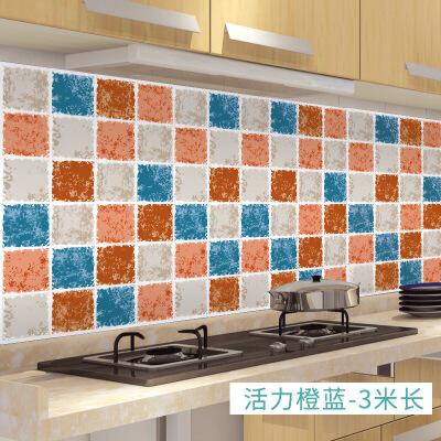 厨房防油贴纸耐高温灶台用防水防油烟机瓷砖墙贴台面自粘橱柜壁纸 活力橙蓝 3米长