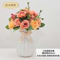 家用仿真花摆件假花绢花干花陶瓷花瓶室内客厅餐桌摆设装饰品玫瑰花艺SN4350 亚光白 香槟色绣球玫瑰