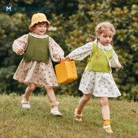 迷你巴拉巴拉婴儿连衣裙套装2020秋季女童纯棉花边童装