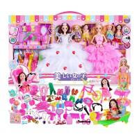 芭比娃娃套装女孩公主大礼盒洋娃娃婚纱衣服别墅城堡儿童玩具 65厘米礼盒K1款【6个公主】 音乐眨眼+送书包 眨眼+音乐