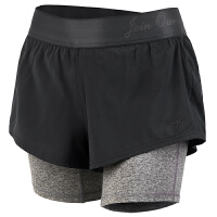 运动短裤女夏跑步瑜伽防走光速干热裤提臀五分裤透气假两件运动裤