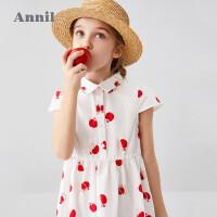 【直降价:90.9】安奈儿童装女童连衣裙短袖2020夏季新款复古风轻薄洋气中大童裙子