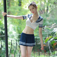 情趣内衣性感可爱学生激情小胸透明短裙套装水手秘书派对制服 +丝袜 均码