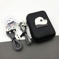 适用小米6/小米8/note3/mix2数据线保护套米6耳机保护线小米充电器贴 +收纳包