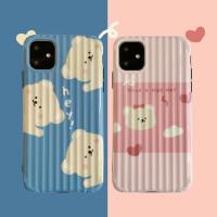 爱心小熊插画11Pro/Max苹果X/XS/XR手机壳iPhone6s/8plus/7女6p套个性创意日韩国男全包边防摔