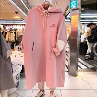 胖MM300斤冬季连衣裙长款宽松大码女装加绒卫衣连帽200斤遮肚外套 粉红色 加绒 2XL 165-200斤